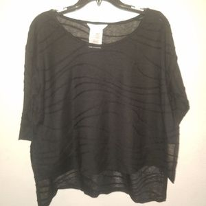 BCBGenerations Black High Low Sheer Top